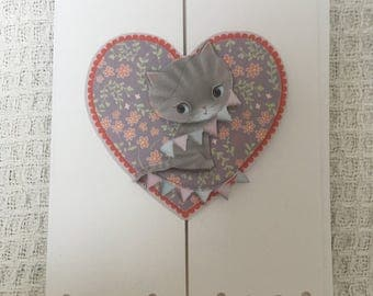 Homemade decoupage cat card