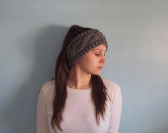 Emily Ear Warmer // Cable Ear Warmer // Cable Headband // Hand Knit Ear Warmer // Handmade Headband // Women's Ear Warmer // Gray Headband