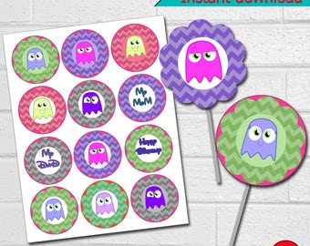 Printable Pacman Cupcake Toppers,  Pacman Birthday Party Cupcake Toppers,  Pacman Party,  Pacman Stickers, instant download
