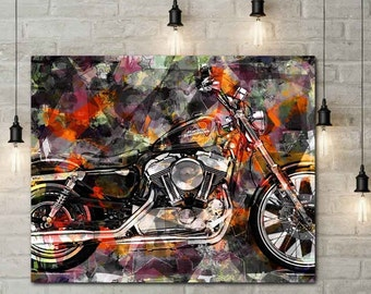 Motorcycle Art, Motorcycle Artwork, Mortorcycle Wall Art, Biker Gift, Biker Art, Garage Art, Mixed Media Wall, Motorcycle Gifts, Sturgis