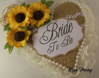 Sunflower Bride To Be Corsage Burlap and Lace Bridal Shower Badge Burlap Bride To Be Corsage Rustic Bridal Shower Decor Bachelorette Badge