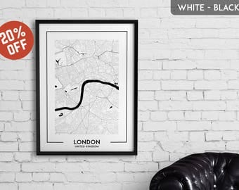 LONDON map print, London poster, London wall art, London city map, London map decor, London decoration, London print, London gift,London art
