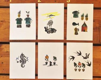 Set of 5 Linocut Prints A6 - Series 1