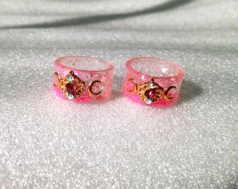 Pink Resin Ring, Soft Grunge, Kawaii Resin Ring, Mahou Kei, Magical Girl Ring, Lolita Jewelry, Kawaii Ring, Moon Ring, Kawaii Jewelry