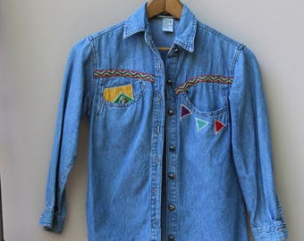 VINTAGE Geometric Beaded & Patched Jean Shirt