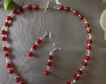 Red jewellery set red necklace red earrings handmade beaded necklace beaded necklace