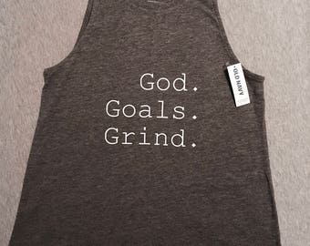 "Women's Tank Top ""God. Goals. Grind."""