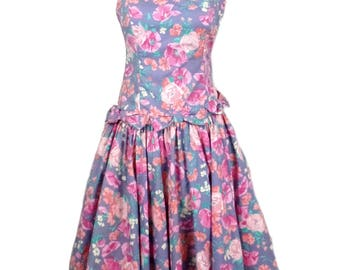 Vintage Laura Ashley Purple Pink Floral Bow Dress Party Prom 8