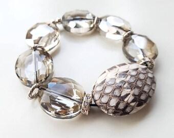 Handcrafted bracelet, gemstone bracelet, necklace, bracelet, bracelet with crystals, Python skin summer bracelet