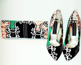 African Print Shoes And Bag
