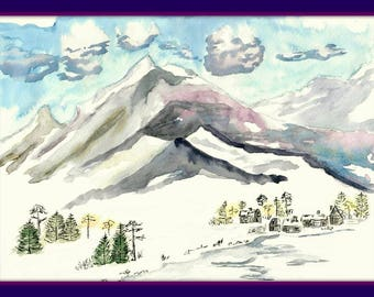 "Picture ""Sayan Mountains"" 8.19*11.02 in. Siberia."" 11.2*16.6 in.Water color, wall art ,home decor"