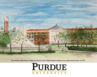 Purdue University watercolor print of the engineering fountain, officially licensed art by Purdue. Boilermaker home office decor. Boiler up!