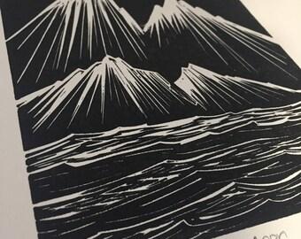 Original Lino Print New Moon