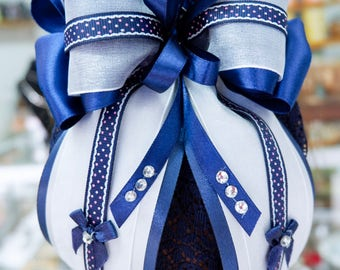 Blue and white barrette bow hair clip and hairnet