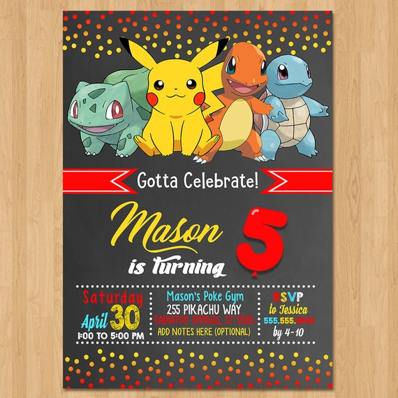 Pokemon Invite - Chalkboard Red, Yellow & Blue - Pokemon Birthday Party Invite - Pokemon Party Favors - Chalkboard Invite - Pikachu Birthday