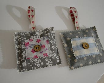 Lavender Filled Hanging Floral And Polka Dot Fabric Squares (set of 2) Home Decor-Perfect Present-Door Hanger-Handmade-Shabby Chic -Gift