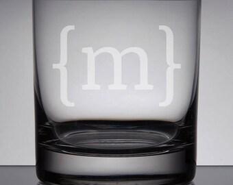 Engraved Rocks Glass, Monogram Whiskey Glass, Bourbon Glass, Monogram Groomsman Glass, Gifts for Groomsmen, Bracket Monogram