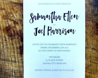 Script Black and White Wedding Invitation