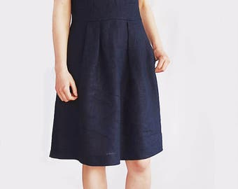 elegant linen dress, dress with short sleeves and pockets, dress with tie neck, V neck, smart casual fit&flare dress, work / office dress