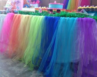 Rainbow Tull Table Skirt