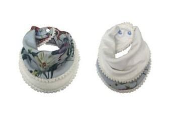 Blue & White Baby/Toddler Pompom Bib, Dribble Bib, Baby Scarf, One Size, Adjustable With Plastic Snaps.