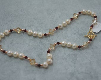 Freshwater Pearl (Champagne) & Swarovski Crystal Necklace/ Bracelet with gold clasp
