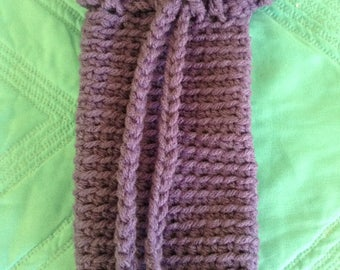 Crocheted Drawstring Eyeglass/Cell Phone Holder in Orchid