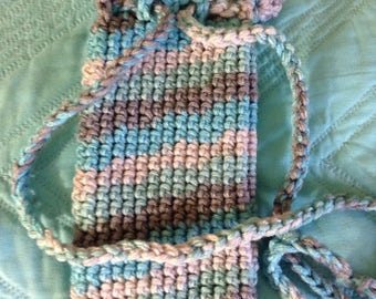Crocheted Drawstring Eyeglass/Cell Phone Holder in Icelandic Ombre
