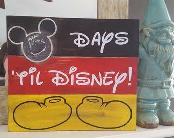 DISNEY COUNTDOWN CHALKBOARD wood sign handmade Mickey inspired.
