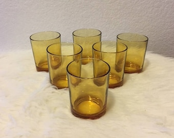 Set of 6 Vitrosax Amber Drinking Glasses- Made in Italy