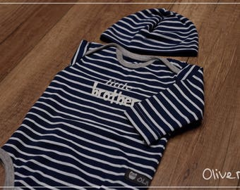 Set: Organic BabyBody with Cap Gr. 50-68 in Navy Blue