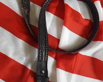 Vintage distressed, worn-in, braided & tooled leather belt