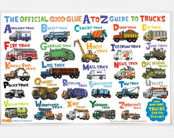 The Official Good Glue A to Z Guide to Trucks Placemat!