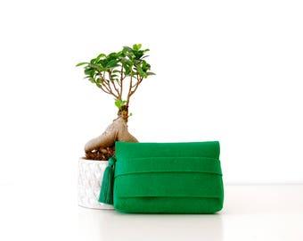 Green clutch, wedding clutch,  bridal clutch, bridesmaid gift, clutch bag,  felt clutch,  clutch,  handbag, vegan bag, vegan clutch