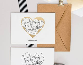 Scratch Off Will You Be My Godmother Proposal Card
