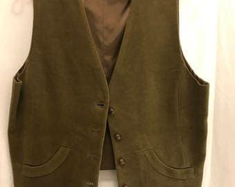 Vintage Men's Burberry Olive Cotton Corduroy Vest Large