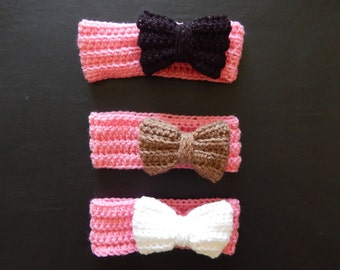 Handmade crochet pink headband with a bow, made to order, baby earwarmers, preemie-24 month sizes