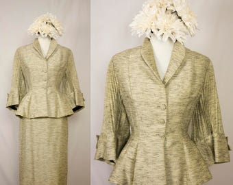 Vintage 1950s Lilli Ann Silk Mohair Peplum Accordian Pleated Sleeve Pencil Skirt Suit