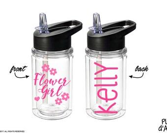 Flower Girl Bottle - Flower Girl gift, Petal Patrol bottle gift, Personalized Kids Water bottle, Will You Be My Flower Girl (BT007)