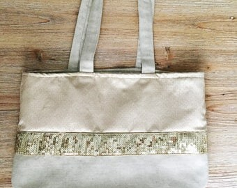 Golden sequins and cotton canvas tote bag