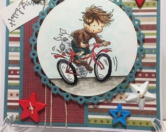 Boy and his Bike card