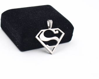 34 * 42mm stainless steel - Superman Pendant - Fashion Superman Logo Necklace Pendant