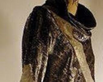 Silver devore silk satin trouser suite.
