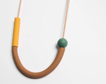 Dusty Brown, Mustard and Green Necklace