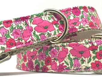 Adjustable dog collar, liberty of london, pink, floral, leash set, metal buckle, feminine, girly, quality