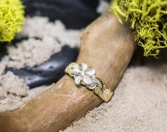 Plumeria Toe Ring with 14k Gold Plated Trim and CZ