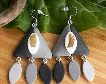 Polymer Clay Earrings~ Grey White Earrings~ Handmade Jewelry~ Polymer Clay Jewelry~ Gold Leaf Jewelry~ Dangle Earrings