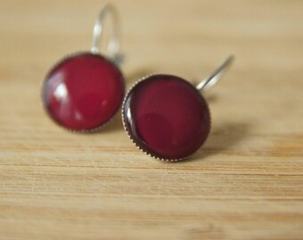 Cabochon earrings 14 mm Maroon