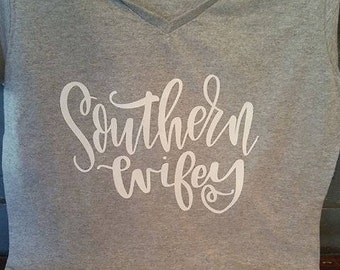 Southern Wifey V-neck tee
