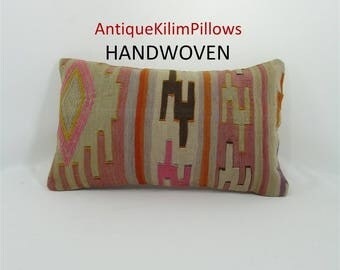 kilim pillow 12x20 lumbar pillow cover decorative indie pillow case sofa pillow cover throw pillow southwestern pillow home decor 000190